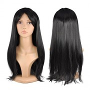 Red Star Womens Ladies Long 19 Straight Wig Fancy Dress Cosplay Wigs Pop Party Costume (Black)