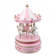 Alcoa Prime Pink Wooden Merry-Go-Round Carousel Wind Up Music Box Kids Gift Home Decor