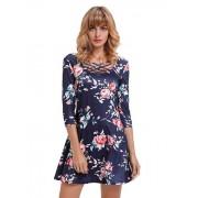 Navy Blue Fence Neck Floral Print T Shirt Dress