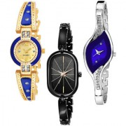 Varni Retail Gold Blue Round Black Chain R.Oval Blue Leaf Dial Diamond 3 Combo Watch For Girls