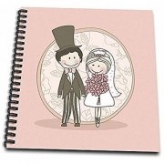 3dRose db_48502_2 Bride and Groom in Pink-Memory Book 12 by 12-Inch