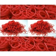 BlueDot Trading 1200-Piece Do-It-Yourself Bracelet Kit Refill Pack, Includes Rubber Band and S-Clips for Loom Art/Kids Craft with Rainbow, Red