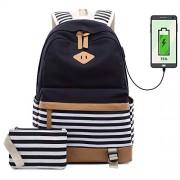 Netchains Mochila de lona para portátil con puerto de carga USB, para computadora de colegio, mochila diurna para mujeres, adolescentes y niñas, compatible con portátiles de 15,6 pulgadas