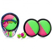 YoYa Toys Toss & Catch 3000 Ball Game with Velcro Disc Paddles 2 Balls (Big and Small) and PVC Carry Bag Pink and Green