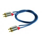 Audió kábel, 2 RCA fém dugó-2 RCA fém dugó, 1 m