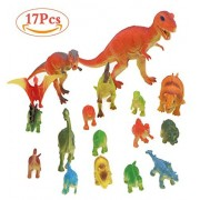 Dinosaur Action Figure Toy Set - 17 Pieces Assorted Size Plastic Dinosaurs Play