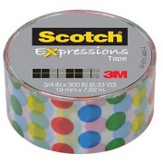 Scotch Expressions Magic Tape/ 3/4-Inches x 300-Inches/ Dots/ 6-Rolls/Pack