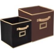 Billion Designer Non Woven 2 Pieces Small & Large Foldable Storage Organiser Cubes/Boxes (Black & Coffee) - CTKTC35312 CTKTC035312(Black & Coffee)