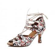 TDA Zapatos de Baile Latino con Cordones para Mujer, Red White-7.5cm Heel, 7 M US