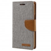 Bolsa tipo Carteira Mercury Goospery Canvas Diary para Samsung Galaxy J3 - Cinzento