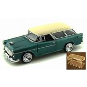 Diecast Car & Accessory Package - 1955 Chevrolet Belair Nomad, Green - Motormax Premium American 73248 - 1/24 Scale Diecast Model Car w/display case