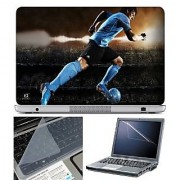 FineArts Laptop Skin Player Playing Football With Screen Guard and Key Protector - Size 15.6 inch
