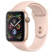 Apple Watch Series 4 GPS - 40mm Gold Aluminum Case with Pink Sand Sport Band with 3D Curved Premium Tempered Glass Screen Protector (Full Adhesive) - MU682