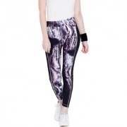 Tuna London Purple Print Printed Polly Cotton Lycra Track Pants For Women