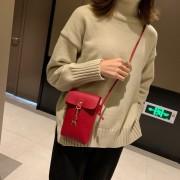 Mini PU Leather Shoulder Bag Ladies Handbag Phone Case (Red)