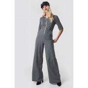 Trendyol Front Zip Wide Leg Jumpsuit - Grey