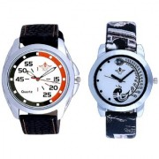 Orange Black Multi Dial And Black Peacock Feathers Couple Casual Analogue Watch By Vivah Mart