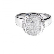 Verra Grand Inside Down Curved Sterling Silver Cubic Zirconia Ring