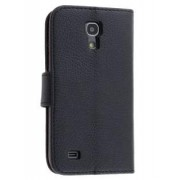 Synthetic Leather Wallet Case with Stand for Samsung Galaxy S4 mini - Samsung Leather Wallet Case (Classic Black)