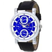 Golden Bell Men'S Black & Blue Round Genuine Leather Strap Wrist Watch (432Gb)