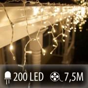 LED SVETELNÁ ZÁCLONA 200LED 7.5M TEPLÁ BIELA