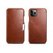ICARER Vintage Design Genuine Leather Phone Case Cover for iPhone 11 Pro Max 6.5-inch - Brown
