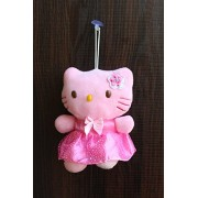 FunkyTradition Hello Kitty Pink Stuffed Soft Plush Toy with Ribbon for Christmas and Gifts 17 CM Tall
