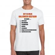 Bellatio Decorations Halloween kostuum lijstje t-shirt wit heren