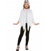 Vegaoo.es Capa fantasma con capucha terciopelo blanco niño