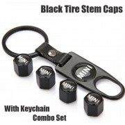 Mini Cooper Black Tire Stem Valve Caps and Black Keychain Combo Set