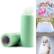 Fashion Tulle Roll 20D Polyester Wedding Birthday Decoration Decorative Crafts Supplies Size: 160cm x 25cm (Light Green)