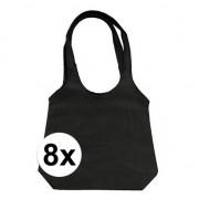 Geen 8 x Zwarte opvouwbare tassen/shoppers