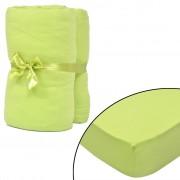 vidaXL Чаршаф за матрак, 2бр, 140x200-160x200cм, зелена ябълка, памучно жарсе