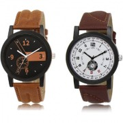 The Shopoholic Black Brown White Combo Fashionable Funky Look Black And Brown And White Dial Analog Watch For Boys Mens Leather Watches