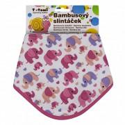 T-tomi BIO Bambusový slintáček 27 x 42 cm Pink elephants / růžoví sloni