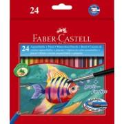 Creioane Colorate Acuarela 24 buc + Pensula Faber-Castell