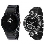 IIK Collection Black With Dabble Heart Black Analog watch For Men And Women Combo And Cupple Watch