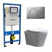 Douche Concurrent Geberit UP 320 Toiletset - Inbouw WC Hangtoilet Wandcloset - Saturna Sigma-01 Mat Chroom