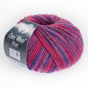 Lana Grossa Cool Wool Merino Print von Lana Grossa, Leuchtendrot/Magnolie/Brombeer/Dunkelviolett