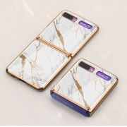 GKK Folding Painted Tempered Glass Phone Case for Samsung Galaxy Z Flip - White/Gold Marble Pattern