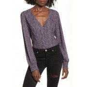 Leith Button Front Blouse BLACK ABSTRACT DOT