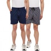 Vimal-Jonney Navy Blue Printed And Ripped Look Black Shorts For Men(Pack Of 2)