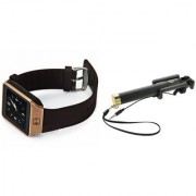 Zemini DZ09 Smart Watch and Selfie Stick for LG OPTIMUS L4 DUAL(DZ09 Smart Watch With 4G Sim Card Memory Card| Selfie Stick)