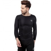 PAUSE Sport Black Solid Sports Dry-Fit Round Neck Muscle Fit Full Sleeve T-Shirt