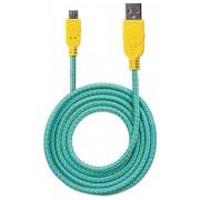 Cavo Micro USB Guaina Intr. USB2.0 A M/MicroB M 1m Azzurro/Giallo