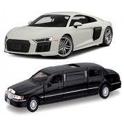 Kinsmart Playking Audi R8 Scale 1:36 7'' Scale 1:38 Die Cast Metal, Doors Openable,Pull Back Action