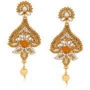 Spargz Ethnic Design Gold Finish Earring Suspended with Pearl AIER 519