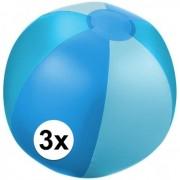 Geen 3x Opblaasbare strandbal blauw