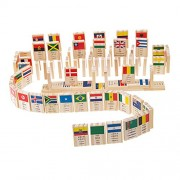 Generic 100Pcs National Flag Cognitive Building Blocks Dominoes Kids Handcrafted Educational Toy