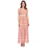 Calvin Klein V-Neck Chiffon Dress Porcelain RoseLatte Multi